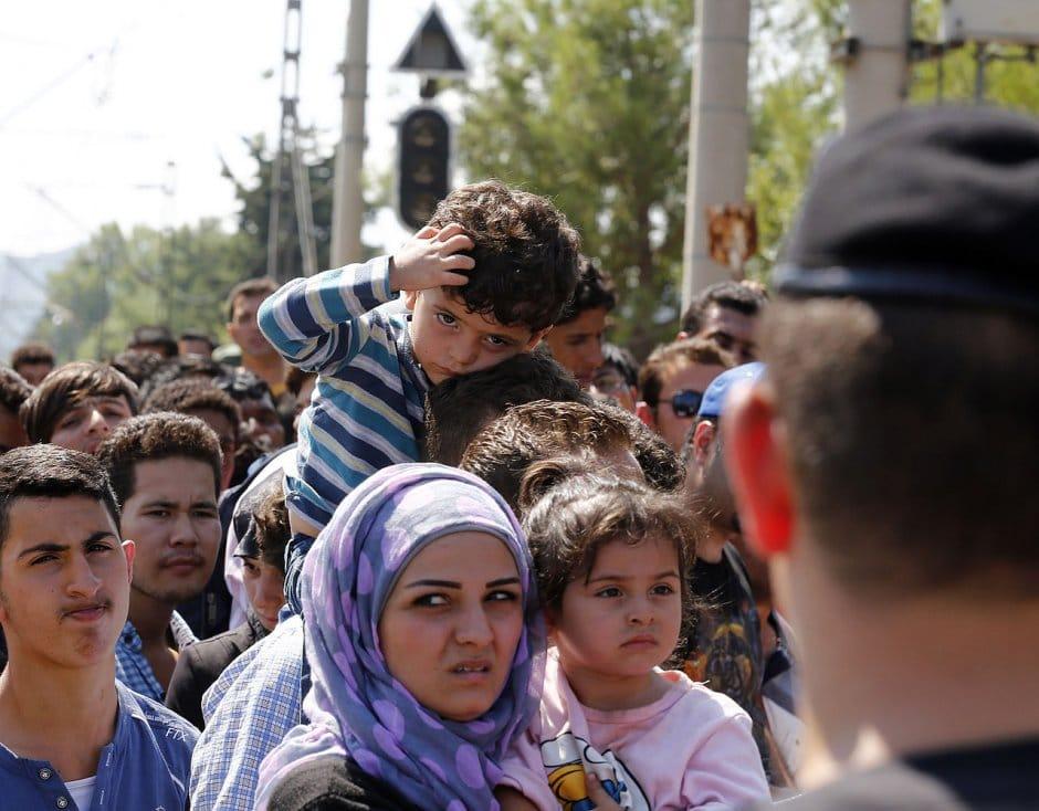Demandeurs d'asile près de la frontière entre la Grèce et la Macédoine, le 24 août 2015